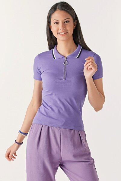 Fulla Moda Yarım Fermuarlı Tshirt