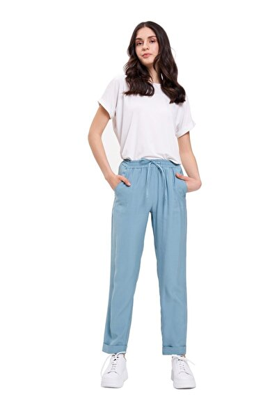 Mizalle Bağcıklı Duble Paça Pantolon(Mint)