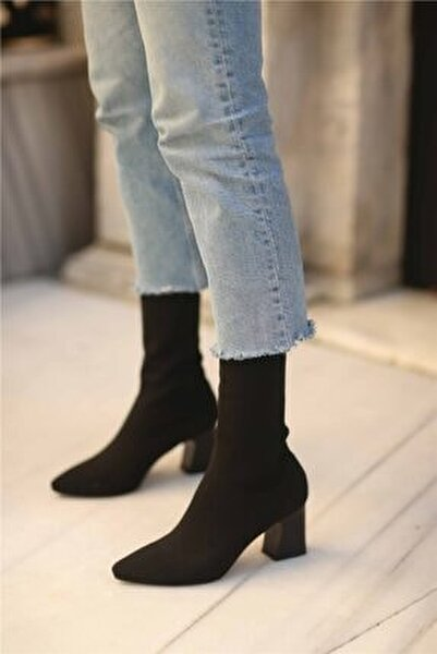 Lesilla Kadın Streç Topuklu Bot Siyah