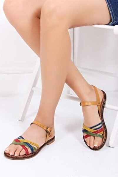 Hakiki Deri Multi-2 Kadın Deri Sandalet Dp28-0830