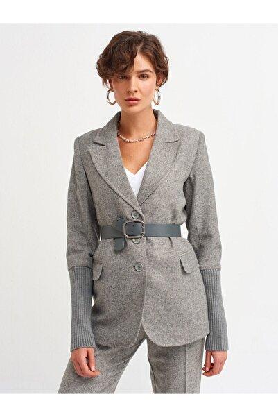 Dilvin Kadın Gri Melanj Kemer Detay Ceket