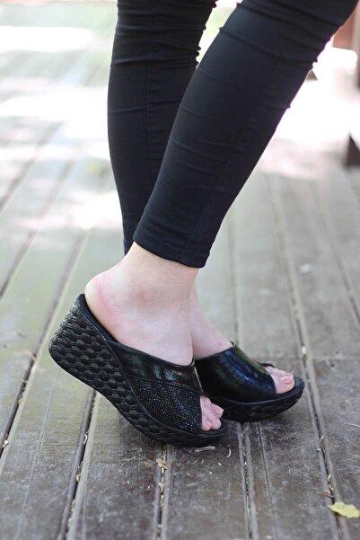 AKSU Çiz-giy P3-wt75 7 Cm Topuklu Şık Kadın Terlik