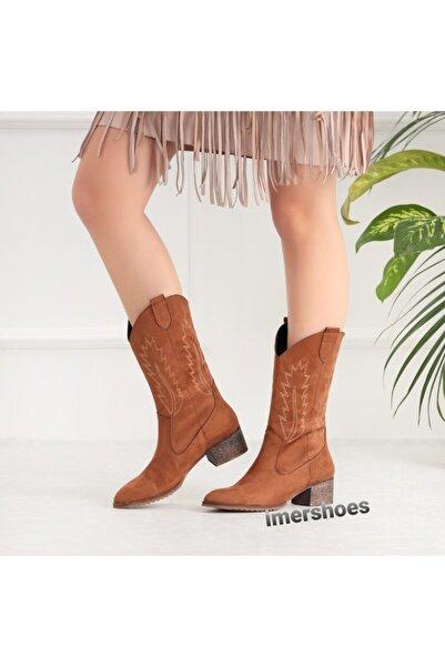 İmerShoes Günlük Western Kadın Kovboy Çizme Siyah - Taba - Bej Süet Dikişli Ahşap Topuklu Bot