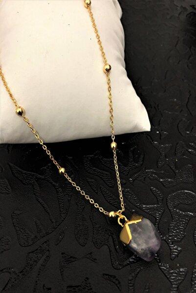 Dr. Stone Dr Stone Golden Ametist Taşı 22k Altın Kaplama El Yapımı Kadın Kolye Tkrb25