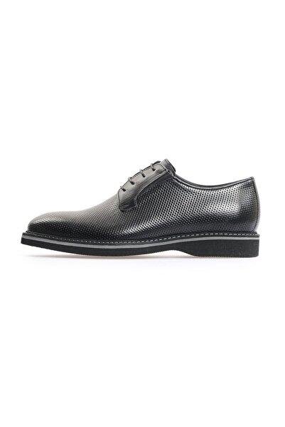 Flower Siyah Antik Baskı Bağcıklı Erkek Ayakkabı
