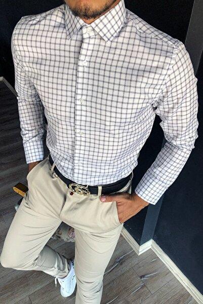 Terapi Men Erkek Uzun Kollu Desenli Gömlek 20y-4300502 Beyaz