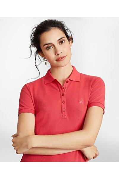 BROOKS BROTHERS Kadın Pembe Supima Polo Yaka Pike T-shirt