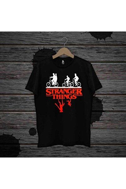 Panda Unisex Stranger Things Baskılı T-shirt