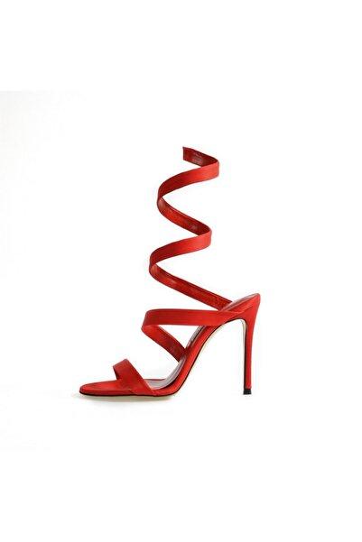Flower Kırmızı Saten Yaylı Abiye Ayakkabı