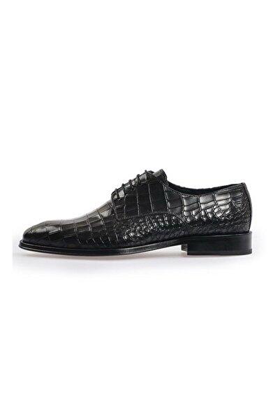 Flower Siyah Bağcıklı Klasik Ayakkabı