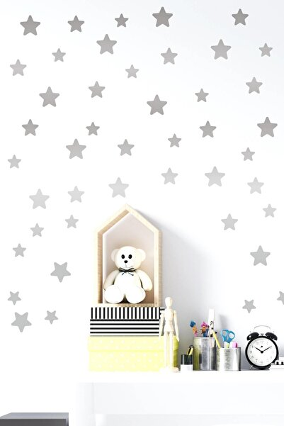 MSticker Yıldız Duvar Sticker 3-4-5 Cm 120 Adet Gümüş Renk