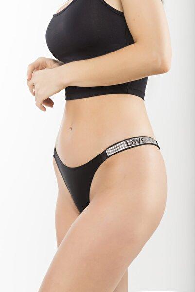 Bikinicim Kadın Taşlı Brazilian Külot - Siyah Love Swarovski Taşlı Külot