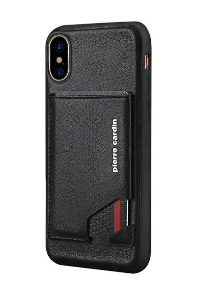 Pierre Cardin Iphone X - Xs (5.8) Siyah Yan Slikon Korumalı Deri Kılıf Pcs-s03