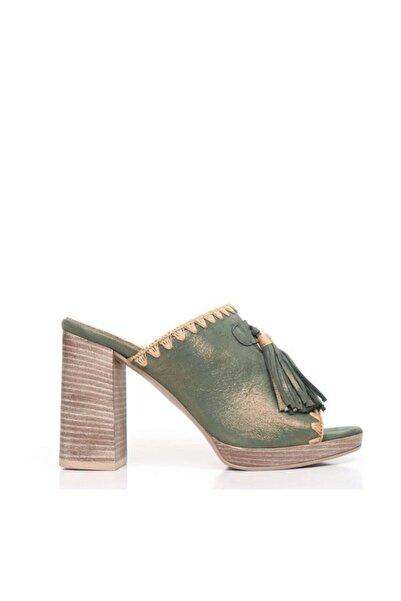 BUENO Shoes Püskül Detay Hakiki Deri Topuklu Kadın Terlik 9n6400