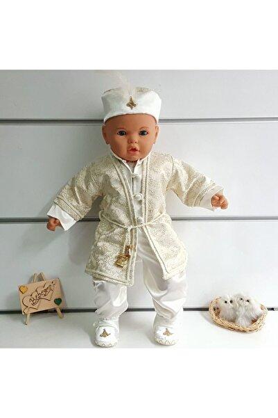 bebegen Tuğra Desenli Krem Belden Ipli Şehzade Erkek Bebek Mevlüt Takımı