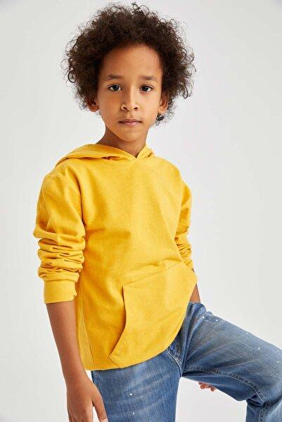 DeFacto Erkek Çocuk Sarı  Kapüşonlu Sweatshirt