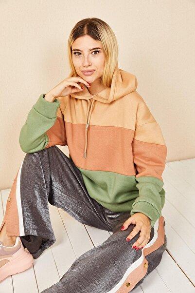 Morpile Renk Bloklu Sweatshirt