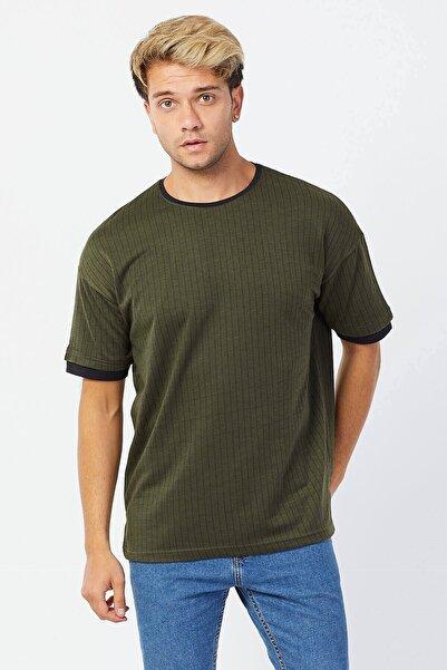 Karpefingo Erkek Çizgili Örme Oversize Haki T-shirt