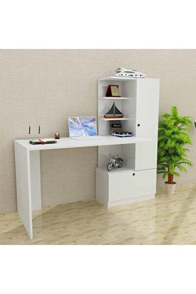 Dekorister Merinos Kitaplıklı Çalışma Masası Beyaz