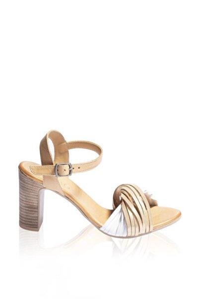 BUENO Shoes Kemerli Hakiki Deri Kadın Topuklu Sandalet 9n4302