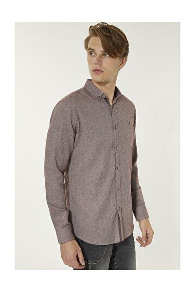 Avva Erkek Bordo Düz Düğmeli Yaka Slim Fit Gömlek A92s2266
