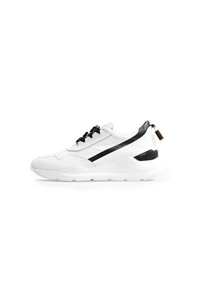 Flower Beyaz Deri Aksesuar Detaylı Spor Ayakkabı
