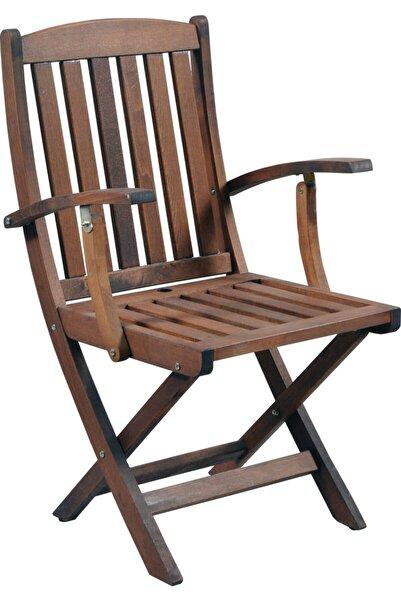 Özdağ Gürgen Katlanabilir Ceviz Renk Kollu Bahçe Sandalyesi