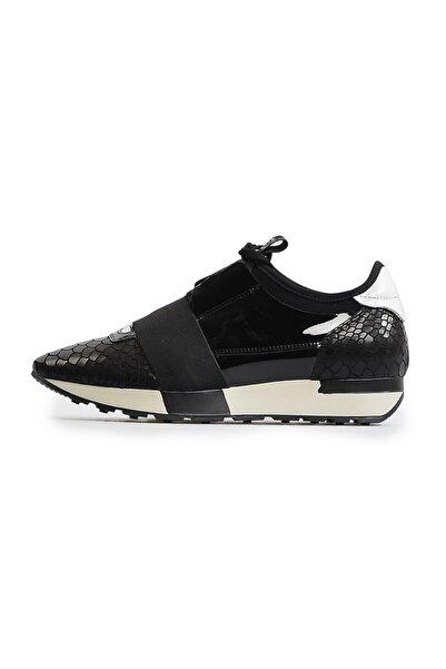 Flower Siyah Bağcıklı Kadın Spor Ayakkabı