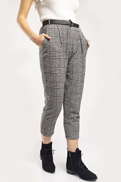 MD trend Kadın Siyah Desenli Kemer Detaylı Kaşe Pantolon