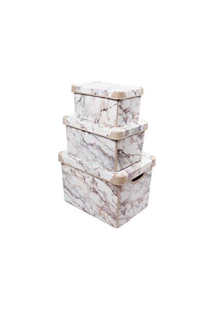 QUTU Style Box Marble Set - 3parça Dekoratif Kutu