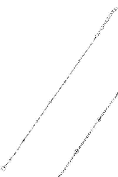 Söğütlü Silver Gümüş Rodyumlu Top Top Halhal