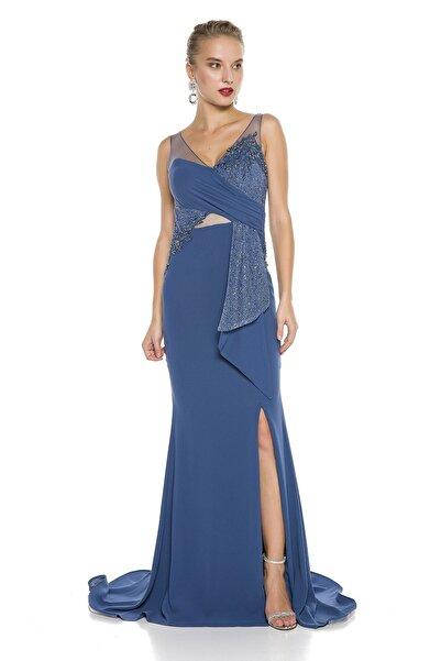 Abiye Sarayı Mavi Sırt Ve Bacak Dekolteli Sırt Detaylı Uzun Abiye Elbise