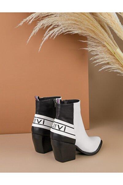 İLVİ Terba Hakiki Deri Kadın Beyaz Siyah Topuklu Bot