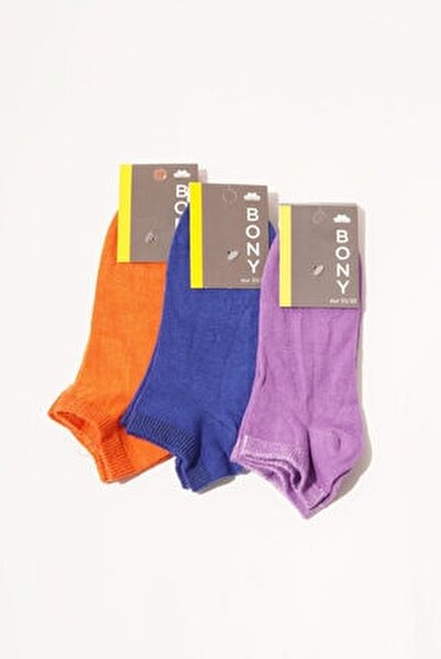 3 Lü Paket Autumn Kadın Step Çorap- Renkli