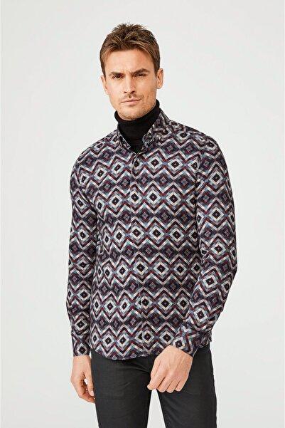Avva Erkek Multicolour (Karışık Renk) Baskılı Alttan Britli Yaka Slim Fit Gizli Patlı Viskon Gömlek