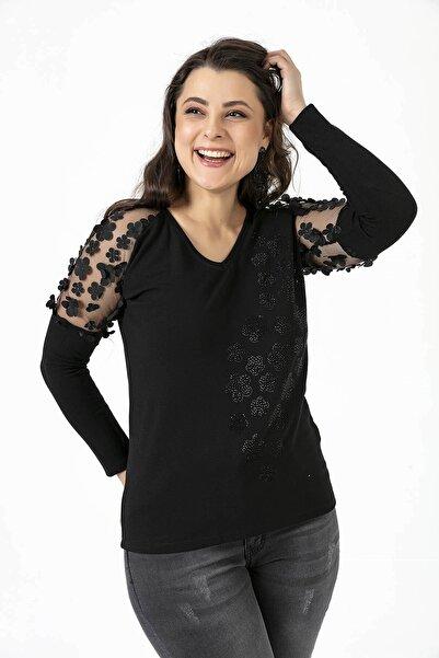 By Saygı Kolları Tül Çiçek Kabartmalı Örme Yün Çilek Bluz Siyah