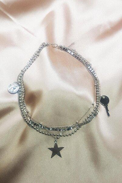 TENA MODA Kadın Gümüş Çoklu Yıldız Para Anahtar Figürlü Zincir Kolye