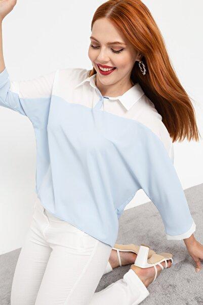 Lafaba Kadın Bebe Mavi Büyük Beden Renkli Bluz