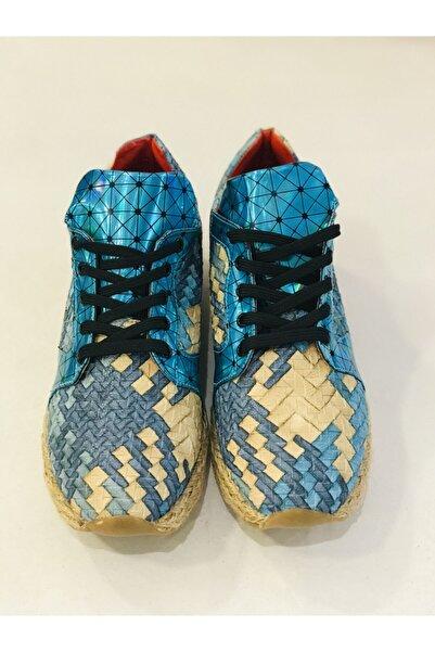 Apex Kadın Mavi Bağcıklı Ayakkabı