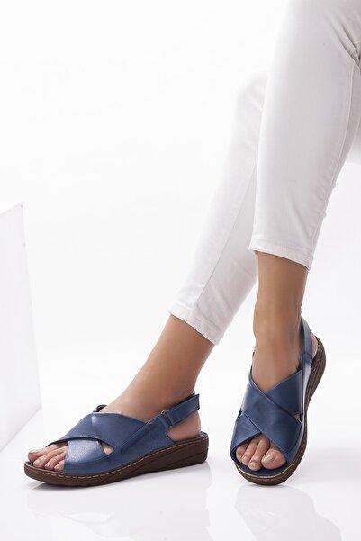 Deripabuc Hakiki Deri Kot Mavi Kadın Deri Sandalet Dp05-0247