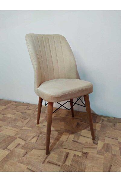 Güven Mobilya Ahenk Krem Renk Ahşap Ayaklı Mutfak Cafe Sandalyesi