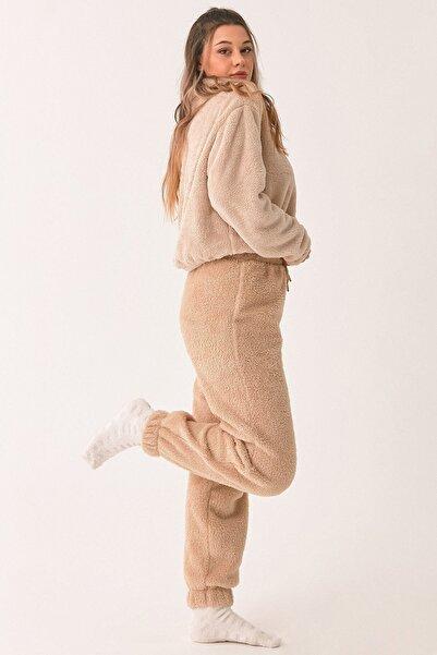 Fulla Moda Paçası Lastikli Polar Eşofman Altı