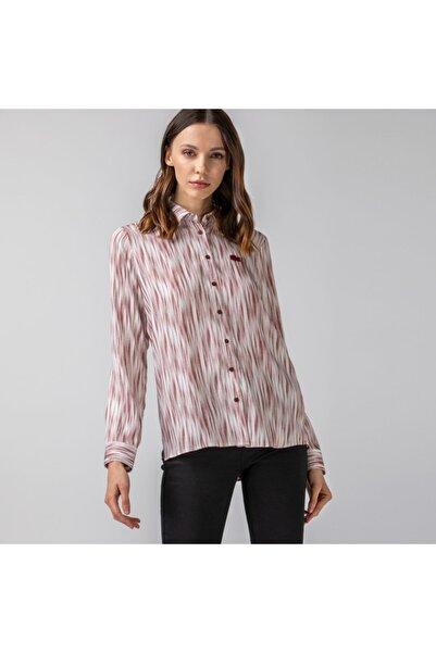 Lacoste Kadın Desenli Bordo Gömlek CF0121
