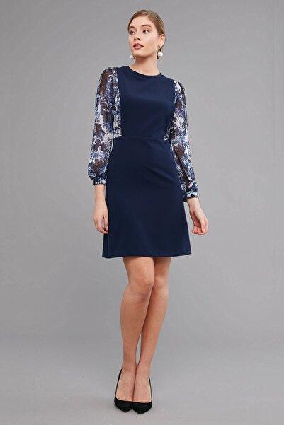 Journey Elbise-sıfır Yaka Üst Beden Ve Kollar Desenli,şifon Kombinli, Saloped Görünümlü