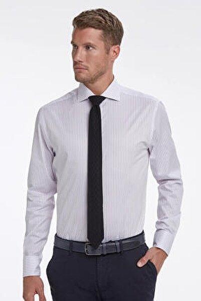 Lila Beyaz Çizgili Business Gömlek