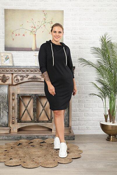 EGZ BUTİK Kadın Büyük Beden Siyah Kapşonlu Elbise