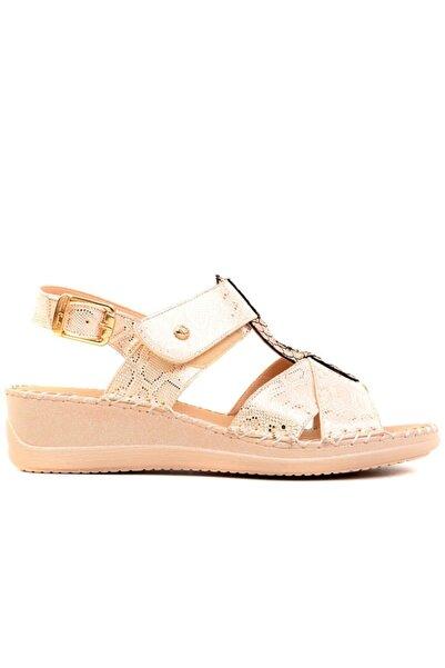 Pierre Cardin - Altın Renk Kadın Sandalet