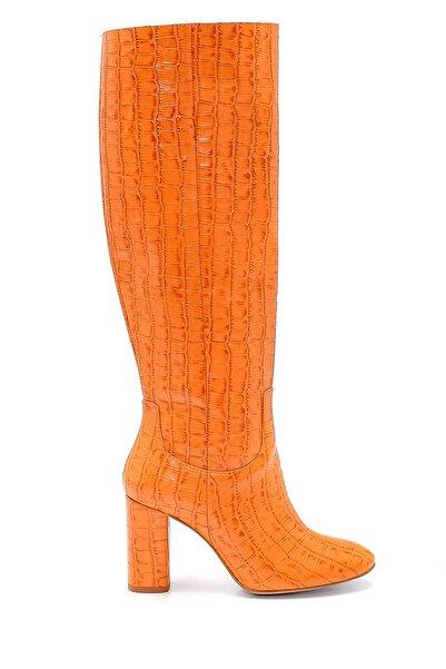 Derimod Kadın Deri Kroko Desenli Topuklu Çizme