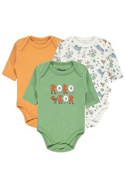 Civil Baby Erkek Bebek 3'lü Çıtçıtlı Badi 0-24 Ay Ekru