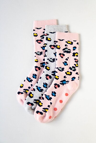 Katia&Bony 3'lü Paket Renkli Leopard Kadın Soket Çorap- Pink/gri/pembe